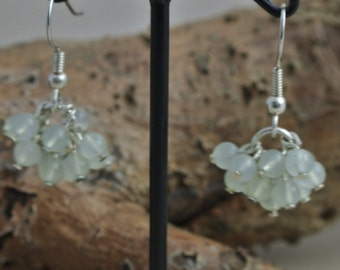Silver plated with jade beads earrings
