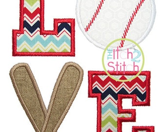 Baseball (or Softball) Love 2 Applique Design For Machine Embroidery INSTANT DOWNLOAD now available