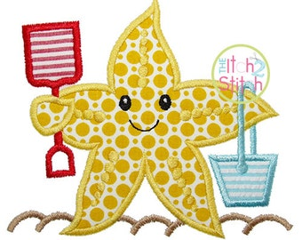 """Beach Starfish Applique Design For Machine Embroidery. Shown with our """"Closer to Free"""" Font NOT Included INSTANT DOWNLOAD now available"""