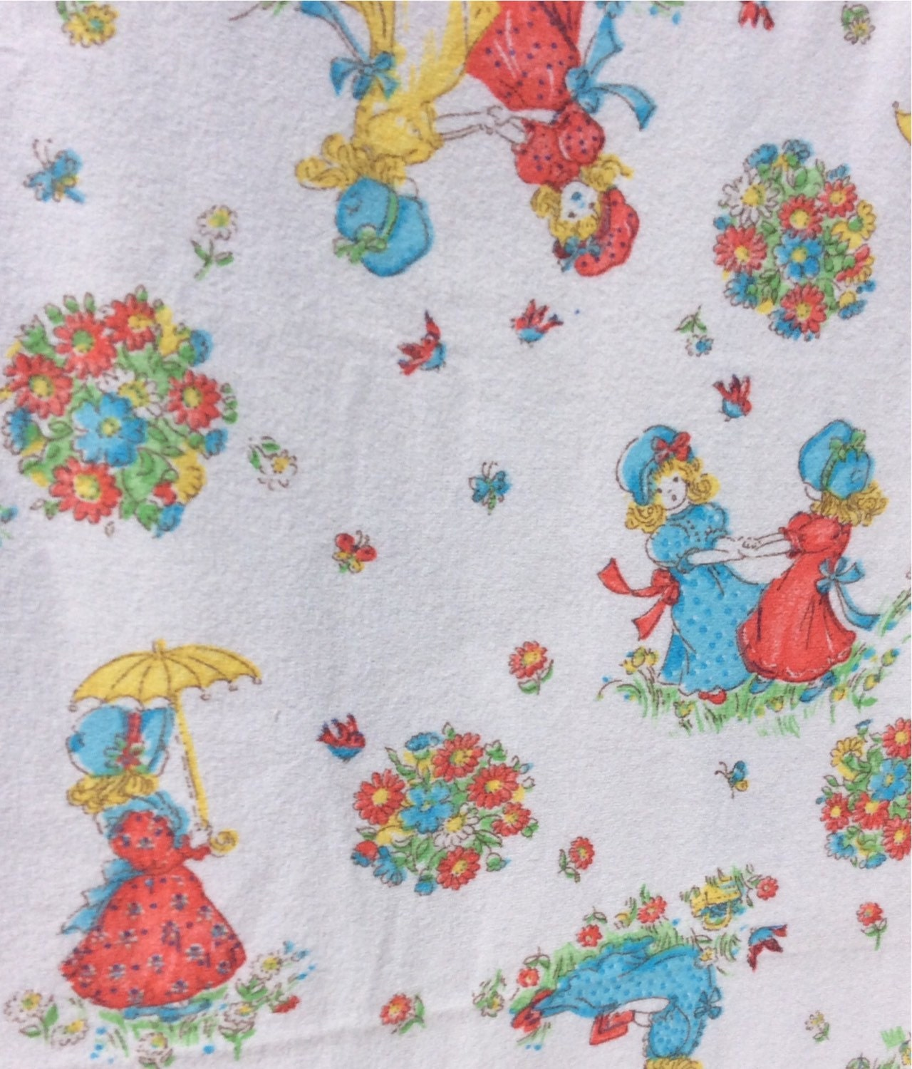 Children flannel vintage fabric with a design of dancing girls for Designer childrens fabric