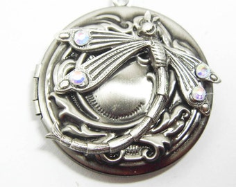 Art Nouveau dragonfly locket,  silver dragonfly, Mucha, art nouveau jewellery, silver locket, keepsake jewellery