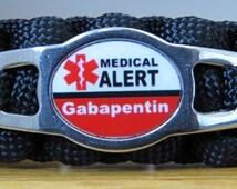 Gabapentin Bracelet, Medical Alert Bracelet, Survival Bracelet