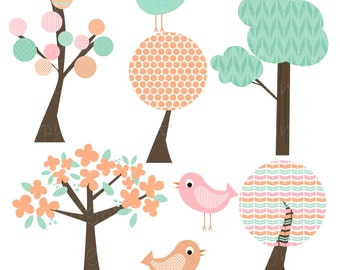 Clip Art Tree Pastel Spring Bird Clipart Commercial Use Instant Download Splendid