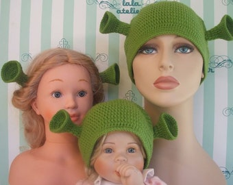 Shrek hats for all family, 1 adult male, 1 baby (or toddler) size and Fiona's ears.