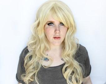 SALE Long Blonde Wig   Natural Curly Boho Blond Wig   Beachy Keen