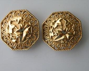 Jose Maria Barrera for Avon Spanish style clip on earrings. 1989