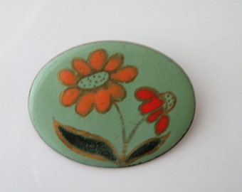 On Sale Vintage Copper enamel handmade floral brooch pin.