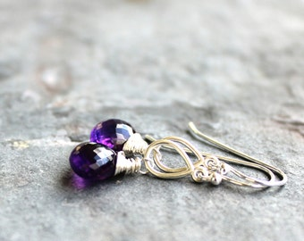 Amethyst Earrings February Birthstone Purple Gemstone Briolette Sterling Silver Dangle Earrings Teardrop
