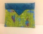 Birds and Blooms Quilted Fabric Mini Snap Bag Purse Handbag Handmade 5-1/4 x 4-1/4