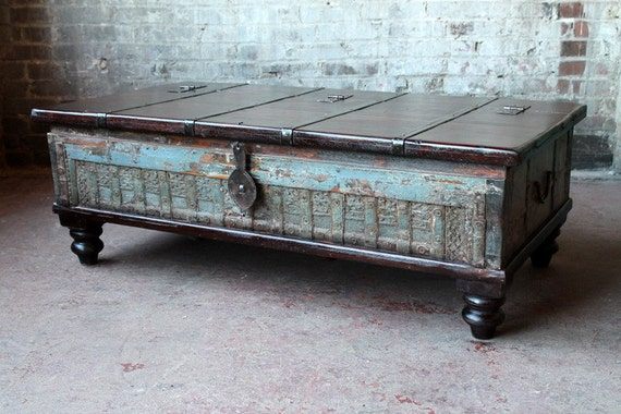 Reclaimed indian trunk coffee table seafoam green blue Indian trunk coffee table