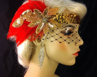 Great Gatsby Headband, Flapper Headband, Downton Abbey, Headband, 1920s Head Piece, Art Deco Headband, Red and Gold, Speakeasy