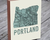 Portland Oregon - Portland Map - Portland Art - Wood Block Art Print