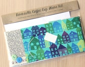 DIY Coffee Cup Sleeve Sewing Kit - Houses and Addresses - Ready to Ship