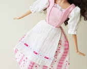 Barbie Peasant dress: Valentine Hearts and Ribbon Stripes