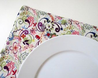 Pair of Reversible Placemats: Colorful Paisley with Green Gingham