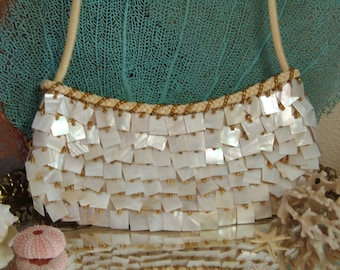 Mother of Pearl Clutch Purse/ MOP Shell Handbag/ Beach Wedding/ Prom/ Events