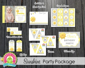 You Are My Sunshine Party Package / You Are My Sunshine Invitation / Sunshine Party / Sunshine Birthday Invitation