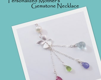 Orchid Birthstone Necklace, Mother's or Grandma Gift