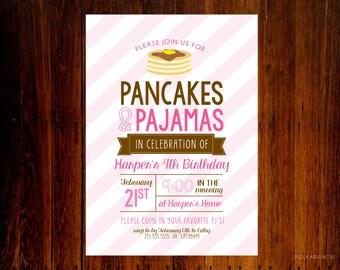 Set of 12 - Pancakes and Pajamas Breakfast Birthday invitation