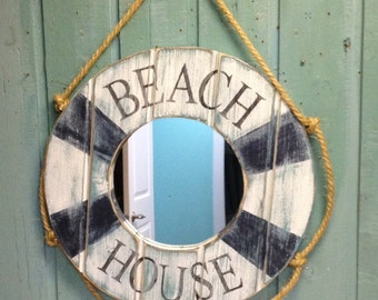 Mirror Life Preserver Ring Nautical Beach House Wall Decor by CastawaysHall