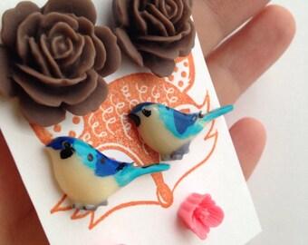Flower Post Earring Set, three pair set of flower studs - blue bird, rose, tea rose. Blue, pink, chocolate.