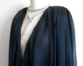 Vintage 1980s Black Chiffon Dress WAYNE CLARK Designer LBD Chiffon Evening Dress 6US