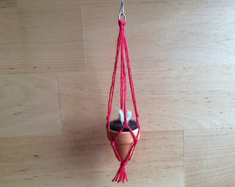 Tiny macrame potted plant ornament, Terracotta with Red String, felted wool and macrame Christmas decor