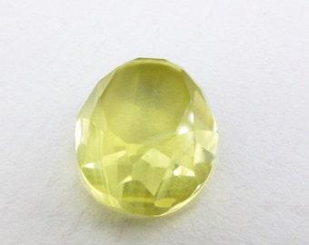 QUARTZ. Natural. Lemon Quartz.  Daisy Cut.  Oval. 1 pc. 6.90 cts. 11x13x6 mm  (CT402)