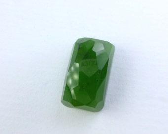 NEPHRITE Green Jade Canadian. British Columbia, Canada. Natural. Micro Facet. Cushion. Natural. 1 pc. 18.49 cts. 18x10x8 mm (JD166)