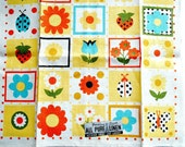 Vintage Floral Towel Linen Parisian Prints with Label Ladybug Flowers Strawberry Kitchen Towel