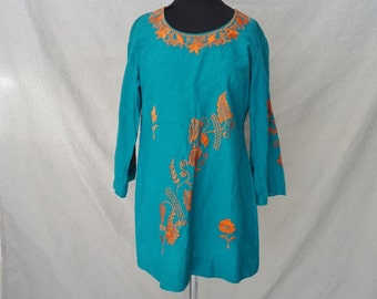 Green Linen Embroidered BOHO Vintage 1980's Womens Tunic Shirt M L