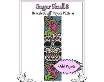 SBead Pattern Peyote(Bracelet Cuff)-Sugar Skull 8