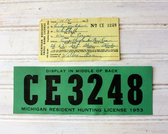 Vintage hunting license etsy for Fishing license illinois