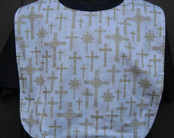 Crosses in Gold  Adult Bib