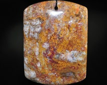 Listed @15% Off Sale Was 28.99---36x50x8mm -Tempting- Red Golden PIETERSITE X-Large Rounded Rectangle Focal Pendant - F0890