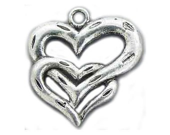 Sterling Silver Heart Charm Entwined Hearts 21mm