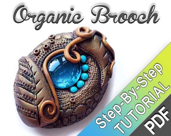 Organic Polymer clay Brooch - PDF tutorial - leather effect - antique finish