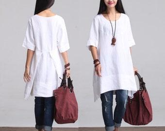 Round Neck Maxi Dress - Summer Dress - Linen Sundress for Women-Short Sleeved (R)