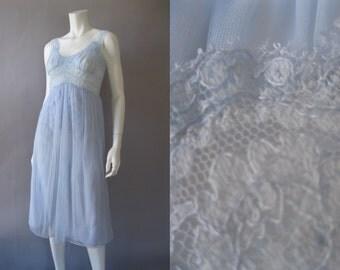 Vintage 1950s Nightgown - 50s Double Chiffon Blue Berkshire Lingerie