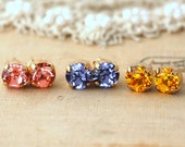 Small Stud Earrings,Peach Stud earrings,Purple stud earrings Yellow earrings,Gift for her,Petite Crystal Earrings,Crystal studs,Stud set