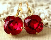 Ruby Red Earrings,Swarovski Drop Earrings,Crimson Drop Earrings Ruby Red Earrings,Swarovski,Crimson earrings,Ruby Drop Earrings,Gift For Her