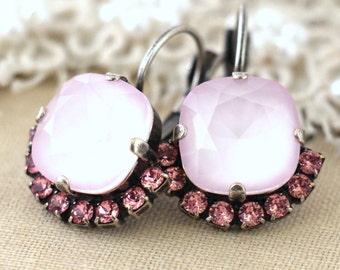 Pink Earrings,Swarovski Rose quartz Earrings,Bridal Earrings,Drop Earrings,Powder Pink Earrings,Bridesmaids Earrings,Blush Earrings