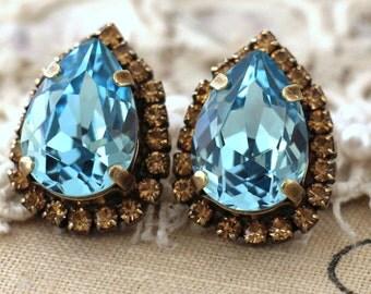 Aquamarine Teardrop earrings,Light blue Stud earrings,Aquamarine Blue Swarovski earrings,Wedding Jewelry,Gift for her,Blue Stud earrings