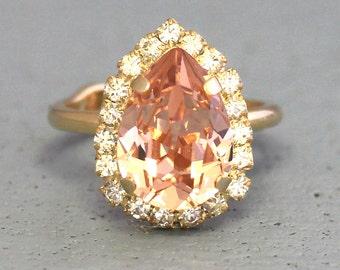 Blush Ring,Swarovski Blush Ring,Cocktail Ring,Crystal Ring,Blush Pink Ring,gift for her,Pear shape ring,Statement Crystal Ring,Pink Ring