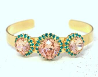 Blush Pink Bracelet Blush Blue Teal Swarovski Bracelet Blue Teal Bridal Bracelet Swarovski cuff Bracelet Bridesmaids Jewelry Cuff Bracelet