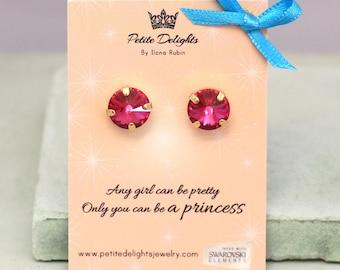 Gift for her,Crystal Stud Earrings,Fuchsia Pink Stud Earrings,Bridesmaids Special gifts,Bridal Swarovski Earrings,Swarovski Studs Earrings.