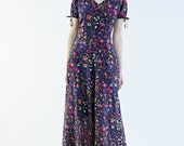 70s Dress, Maxi Dress , Silk Dress , Floral Dress , V Neck Dress by Mrs Pomeranz