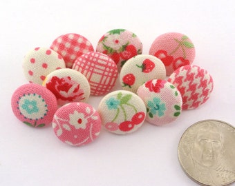 Small Pretty Thumbtacks / Pushpins /  Covered Fabric Button / Craft Flat Back Button/ Sewing Button / Pink / Tiny / Small 14mm 106