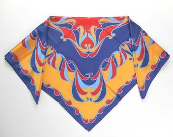 Vintage Womens Silk Scarf Square Bright Orange Blues 1960s 1970s Hippie Psychedelic Design Mad Men Flower Power Retro Boho Fashion Accessory
