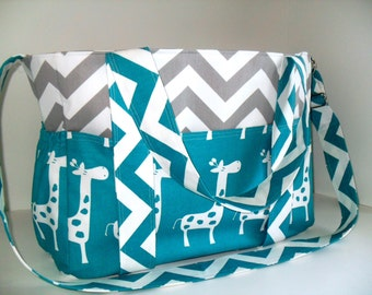 Extra Large Diaper Bag Made - Chevron and Turquoise Giraffe Fabrics - Elastic Pockets - Diaper Bag - Messenger Bag - Tote Bag - Personalized